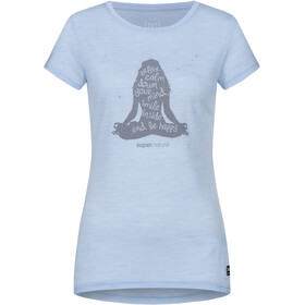 super.natural Printed T-shirt Dames, skyway melange/silver grey calm down